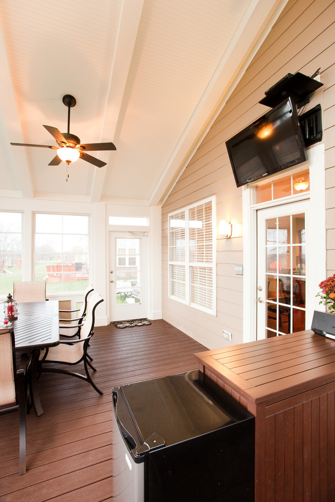 Cable Box Shelf Porch Traditional with 3 Season Porch Eze Breeze Windows Outdoor Living Screened Porch Trex Flooring