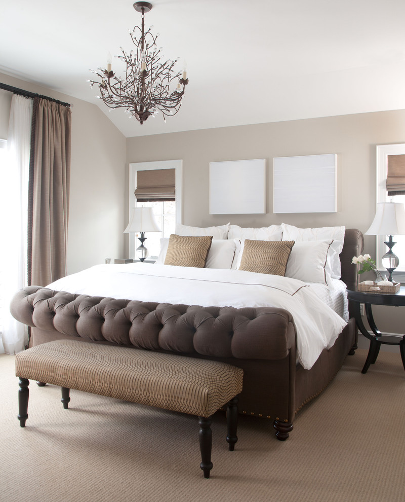 cali king bed Bedroom Traditional with bedroom bench beige carpet beige curtain beige drapes beige roman shade beige