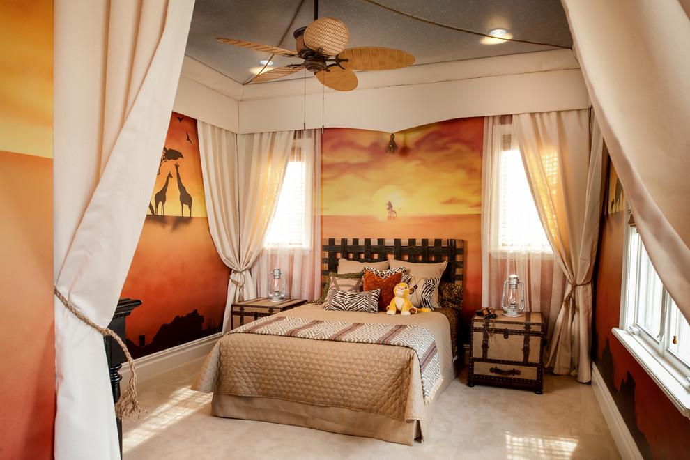 california king bedding sets Kids Traditional with African landscape mural beige curtains Disney Theme Lion King theme safari theme