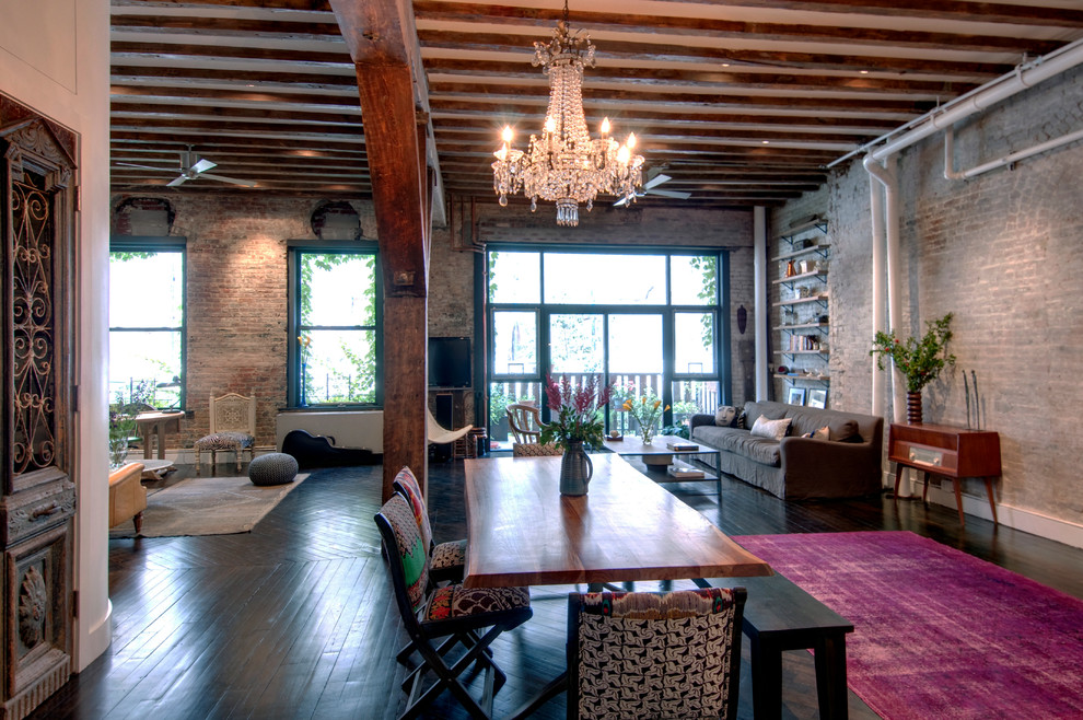 California King Down Comforter Dining Room Industrial with Antique Doors Black Bench Black Dining Bench Black Window Trim Brick Wall