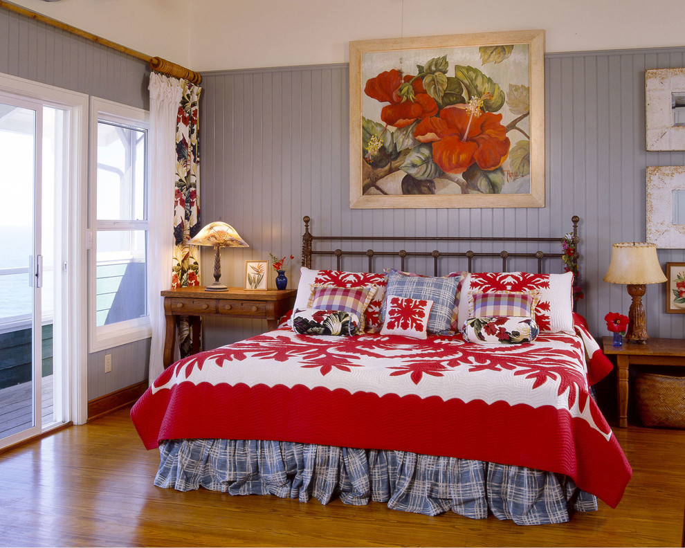 California King Quilts Bedroom Tropical with Blue and White Plaid Bed Skirt Blue Walls Botanical Painting Hawaiian Bark