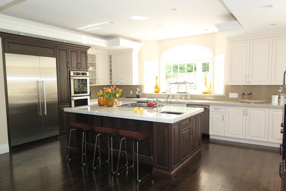 Calligaris Kitchen Traditional with Arched Window Contrast Dark and White Wood Cabinets Dark Wood Kitchen Island