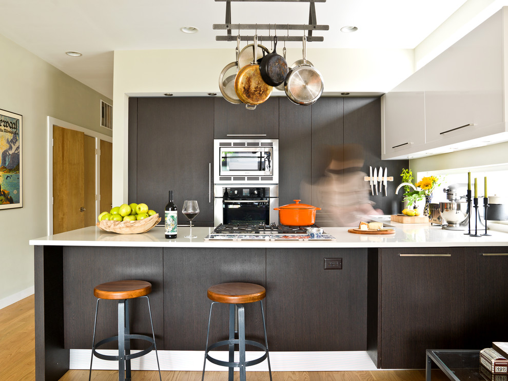 Calphalon Cookware Kitchen Contemporary with Beige Wall Cooktop Dark Wood Cabinets Dark Wood Drawers Dutch Oven Eat In