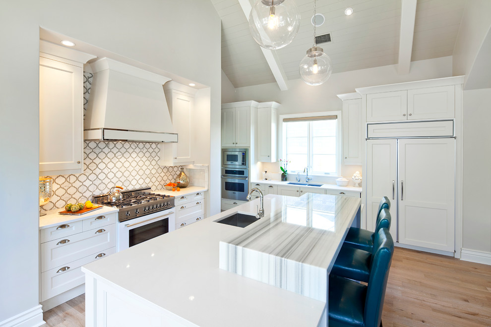 Calphalon Cookware Kitchen Transitional with Artistic Tile Bar Stools Blue Accent Blue Bar Stools Blue Stools Central