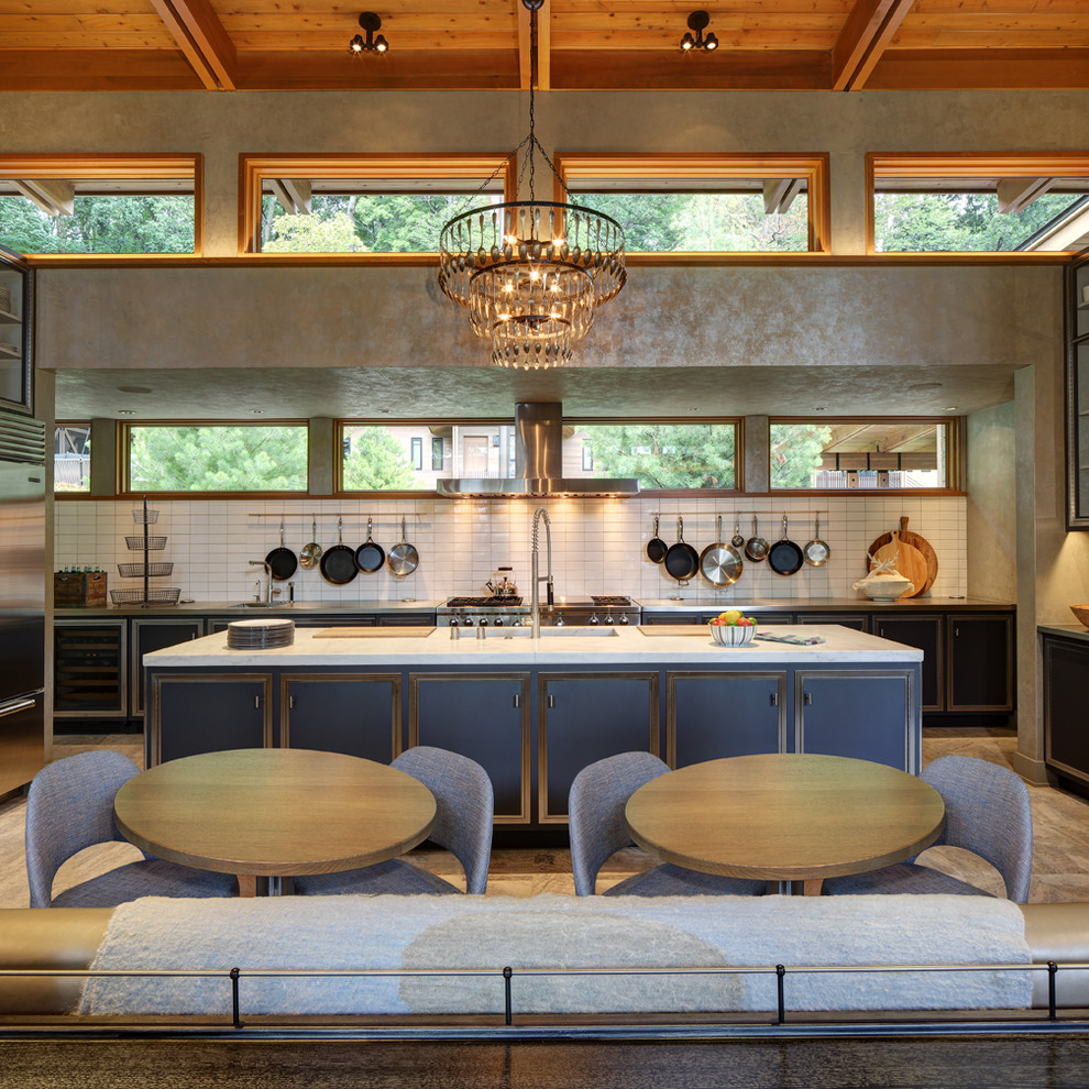 Calphalon Cookware Kitchen Transitional with Built in Banquette Clerestory Windows Drop Ceiling High Ceilings Lake Home Luxury