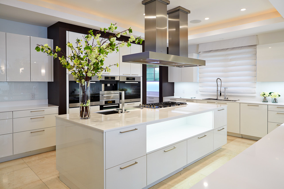 Calphalon Wok Kitchen Contemporary with Cooktop Glossy Island Storage Pendant Lights Polished Prep Sink Stainless Steel Hardware