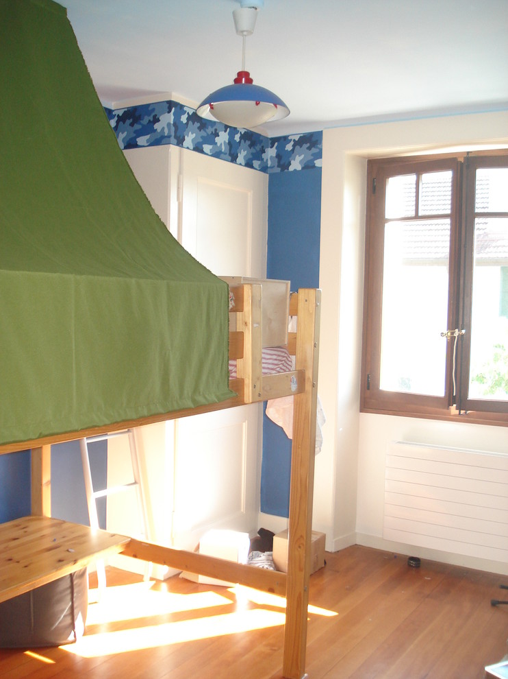 Camo Bed Set Kids Contemporary with Accent Wall Bedroom Blue Walls Bunk Bed Camouflage Casement Windows Loft Bed