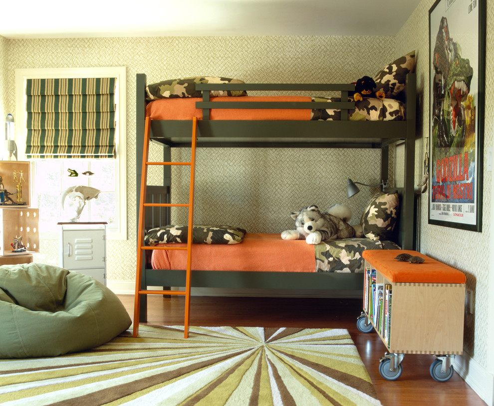 Camo Bed Set Kids Eclectic with Accent Color Beanbag Bunk Bed Custom Rug Orange Roman Blinds Rug Storage