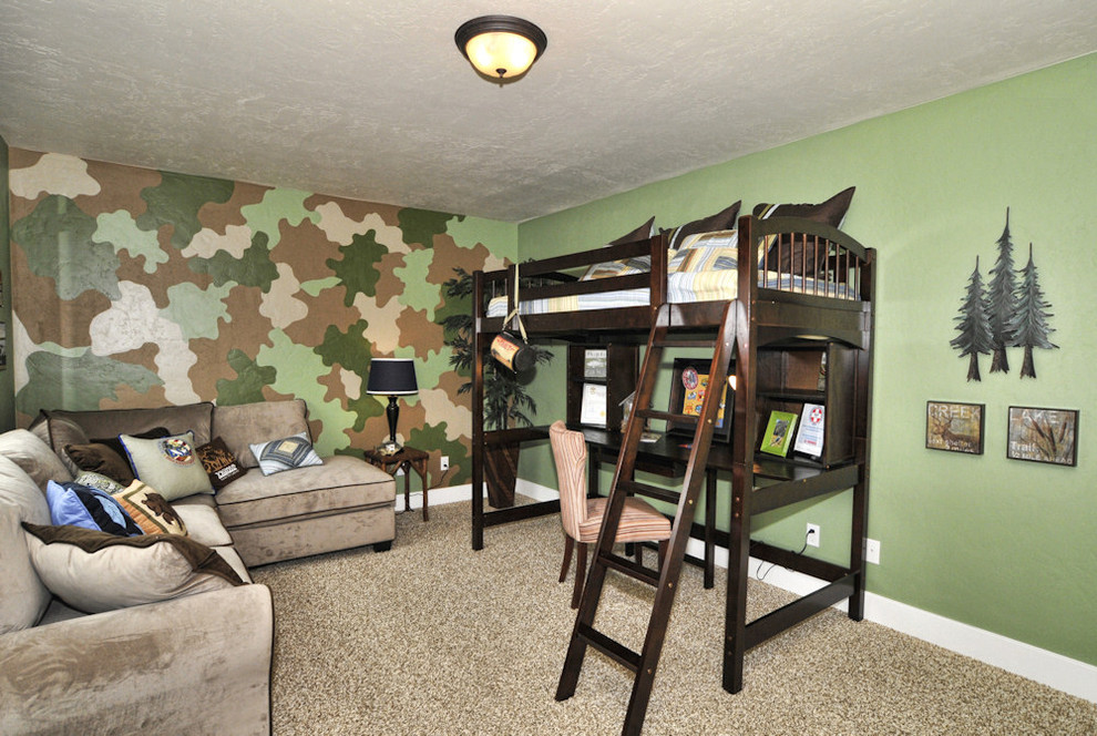 camo bed set Kids Traditional with accent wall Bedroom camo paint carpet custom interior paint green wall kids