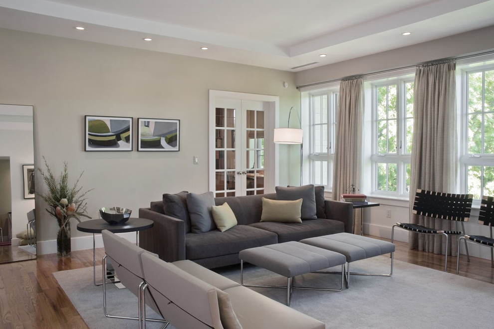 Camouflage Comforter Living Room Contemporary with Artwork Black Side Chairs Gray Ottomans Gray Side Chairs Gray Sofa Grey