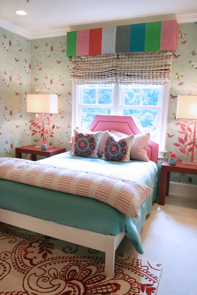 Campbell Air Compressor Kids with Baseboards Bedside Table Butterfly Wallpaper Crown Molding Kids Rooms Nightstand Pink Rainbow