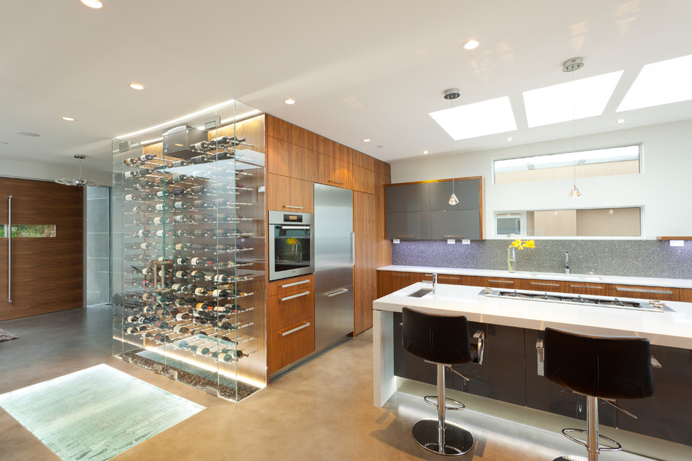 Campbell Air Compressor Kitchen Contemporary with Ardex Backsplash Black Walnut Cabinet Cellar Pro Cement Floors Clear Wine Refrigerator