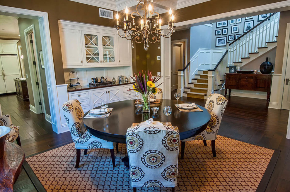 candle wall sconces Dining Room Traditional with dark wood flooring dark wood floors laminate Staircase wood floors