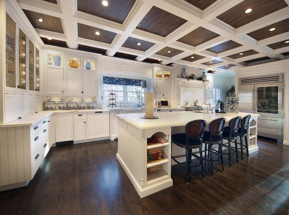 Canisters Sets Kitchen Traditional with Appliance Garage Baskets Beadboad Breakfast Bar Canister Set Ceiling Lighting Coffered Ceiling