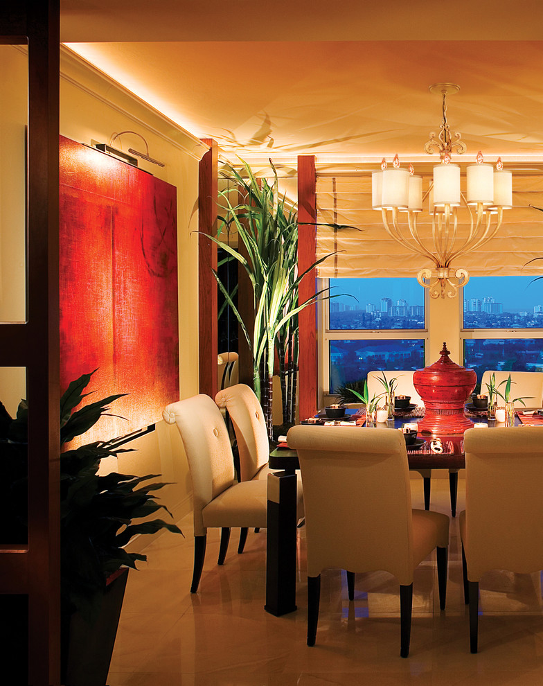 Canned Lighting Dining Room Contemporary with Art Black Chandelier Dining Table Place Settings Plants Roman Shades Scroll Detail