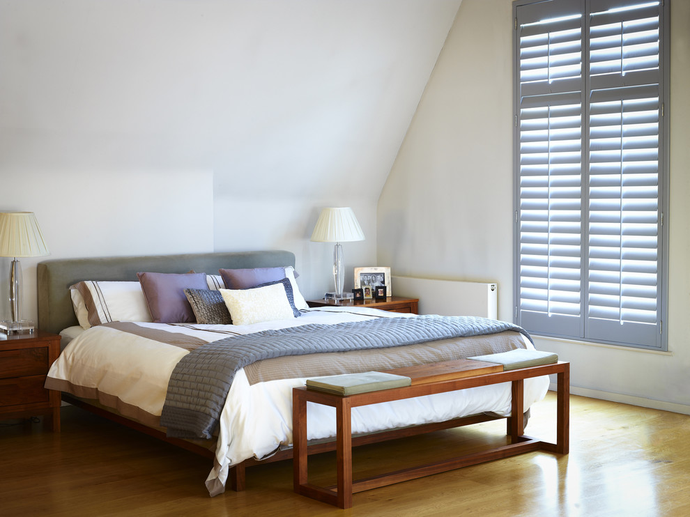 Canopy Bed Frame Bedroom Contemporary with Bed Bedroom Classic Classic Design Colored Shutter Cozy Highprofile Highprofile Shutters Master