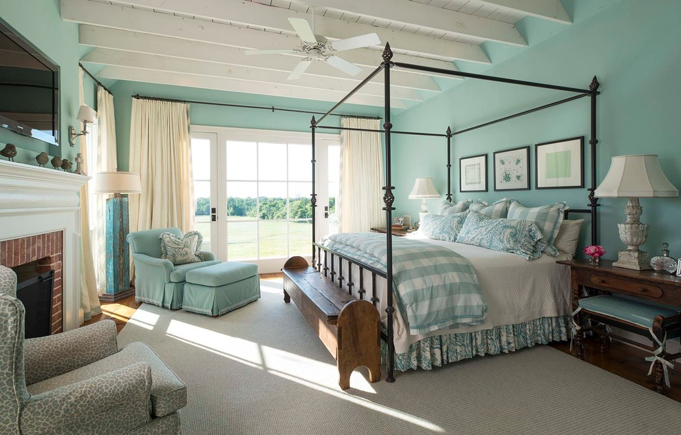 Canopy Bed Frame Bedroom Farmhouse with Beamed Ceiling Blue Armchair Ceiling Fan Four Poster Canopy Bed Framed Art