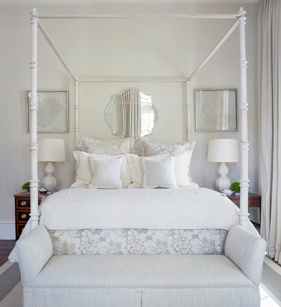 Canopy Bed Frame Bedroom Traditional with Four Poster Canopy Bed Framed Art Mirror Upholstered Bench White Bed White