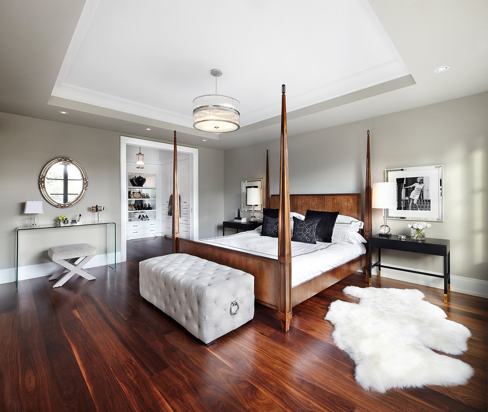 canopy bed frame Bedroom Transitional with area rug bedding canopy bed framed wall art gray wall grey wall