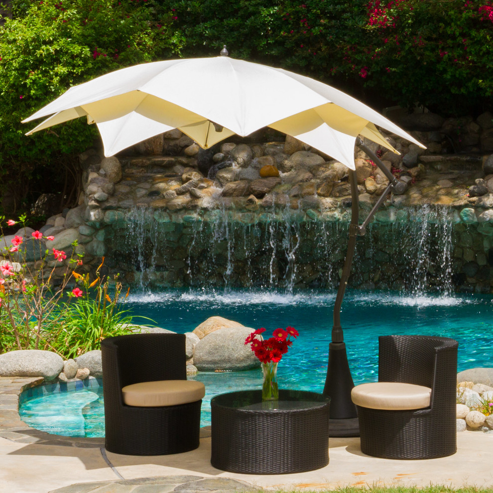 Cantilever Patio Umbrella Spaces Modern with Adjustable Beige Canopy Cantilever Modern Outdoor Cover Patio Umbrella Stand