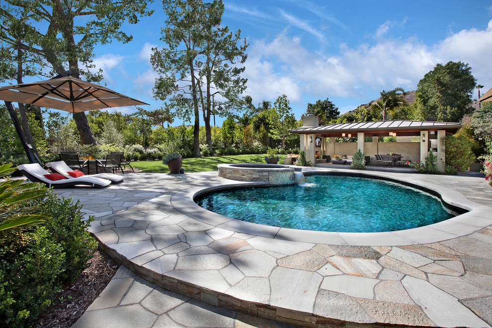 Cantilever Umbrella Pool Contemporary with Cabana Cantilevered Umbrella Chaise Curved Pool Flagstone Pool Deck Jacuzzi Lawn Lounge