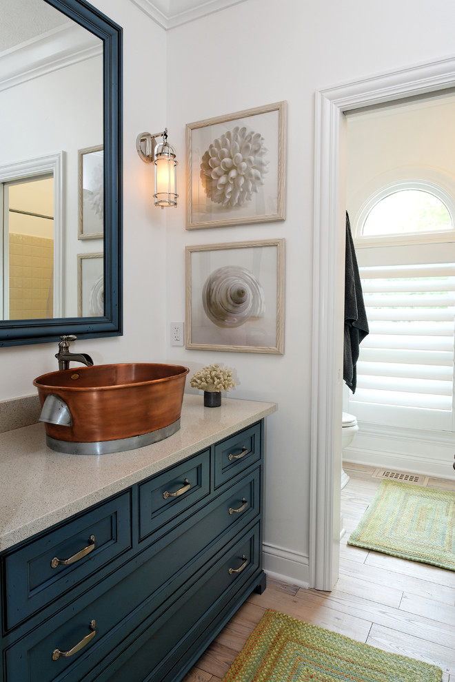 Capel Rugs Bathroom Contemporary with Antique Brass Pulls Arch Window Blue Cabinet Copper Vessel Sink Marine Sconce