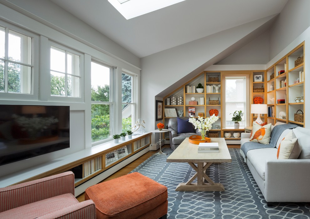 capel rugs Family Room Transitional with angled ceiling angled corner built in bookshelves gray martha o'hara interiors orange