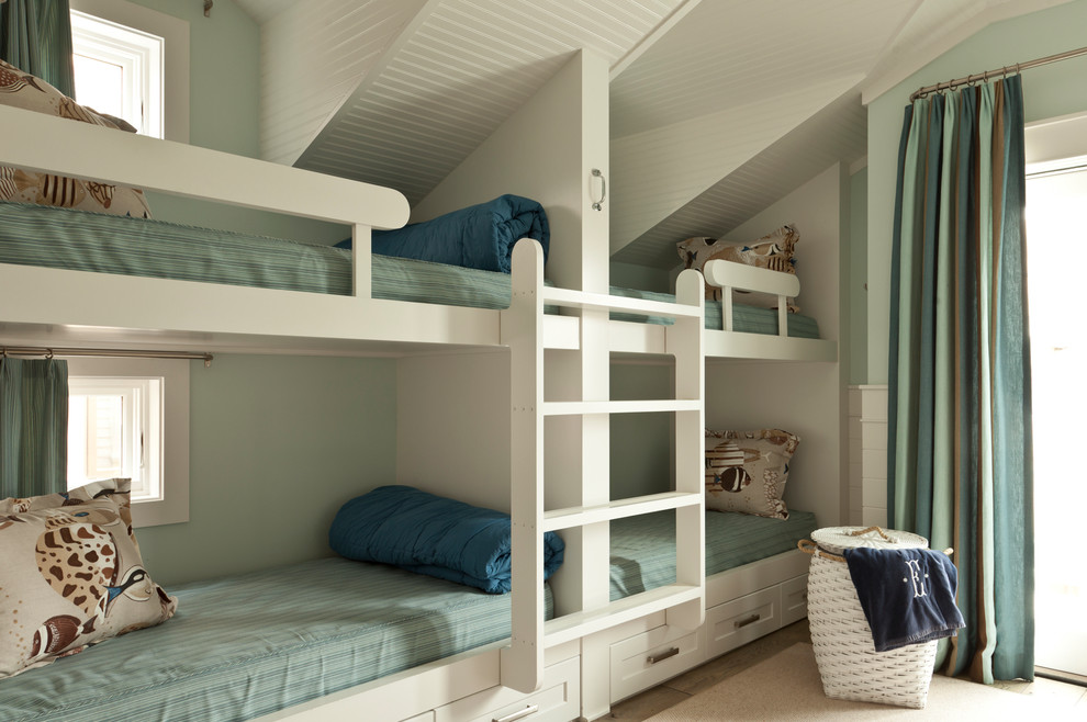 Captains Bed Bedroom Beach with Bed Storage Bedding Bunk Beds Cool Colors Glass Door Hamper Ladder Loft
