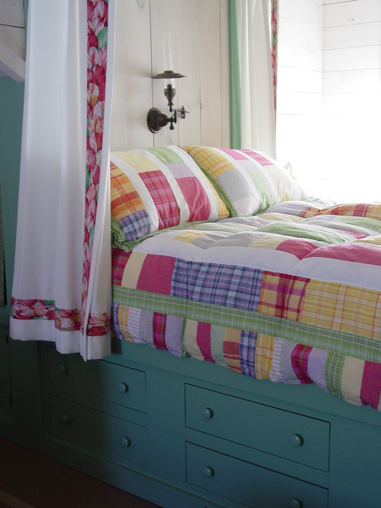 Captains Bed Kids Beach with Antique Lamp Bed Curtains Bright Colors Built in Bed Built in Drawers Built in Storage