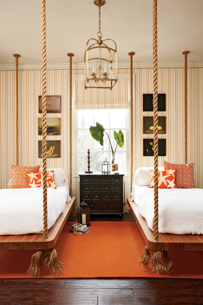 Captains Bed Full Bedroom Traditional with Bed Boat Bed Hanging Bed Lantern Orange Orange Rug Rope Bed Wallpaper