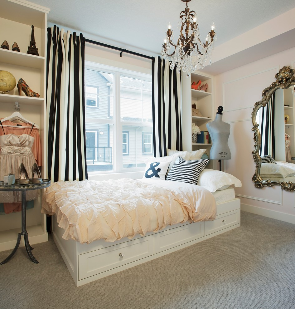 Captains Bed Queen Bedroom Shabby Chic with Bedroom Black White Stripes Built in Shelves Carpeting Chandelier Dress Model Gilded Mirror