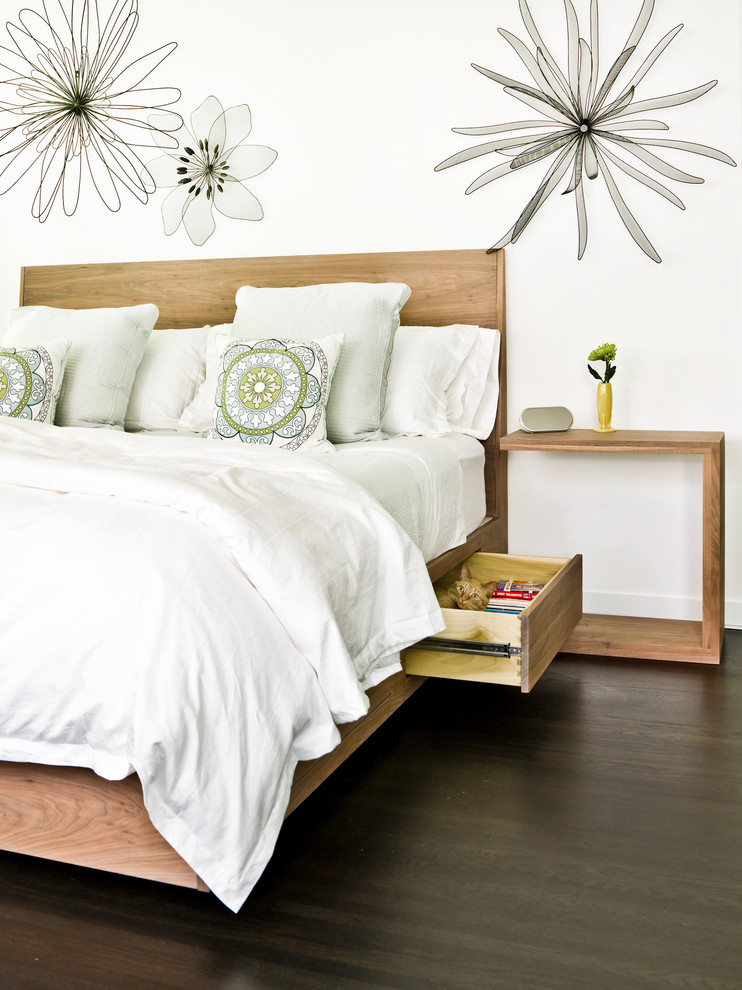 Captains Beds Bedroom Contemporary with Bedding Bedroom Bedroom Furniture Dark Hardwood Floors Floral Neutral Colors Nightstand Pillows