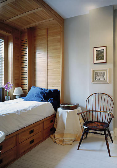 Captains Beds Bedroom Eclectic with Arm Chair Bed Bedding Bedside Lamp Bedside Table Built in Bed Chair Headboard