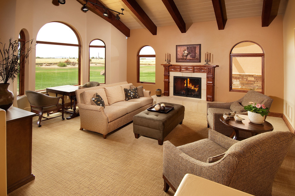 Carpet Chair Mat Living Room Transitional with Accent Wall Arched Window Beige Armchair Beige Sofa Beige Tile Fireplace Beige