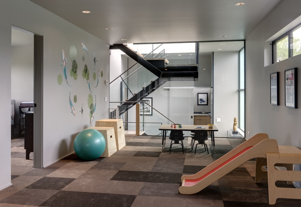 Carpet Squares Home Gym Contemporary with Checkered Carpet Childrens Table Exercise Ball Glass Wall Gray Wall Grey Wall