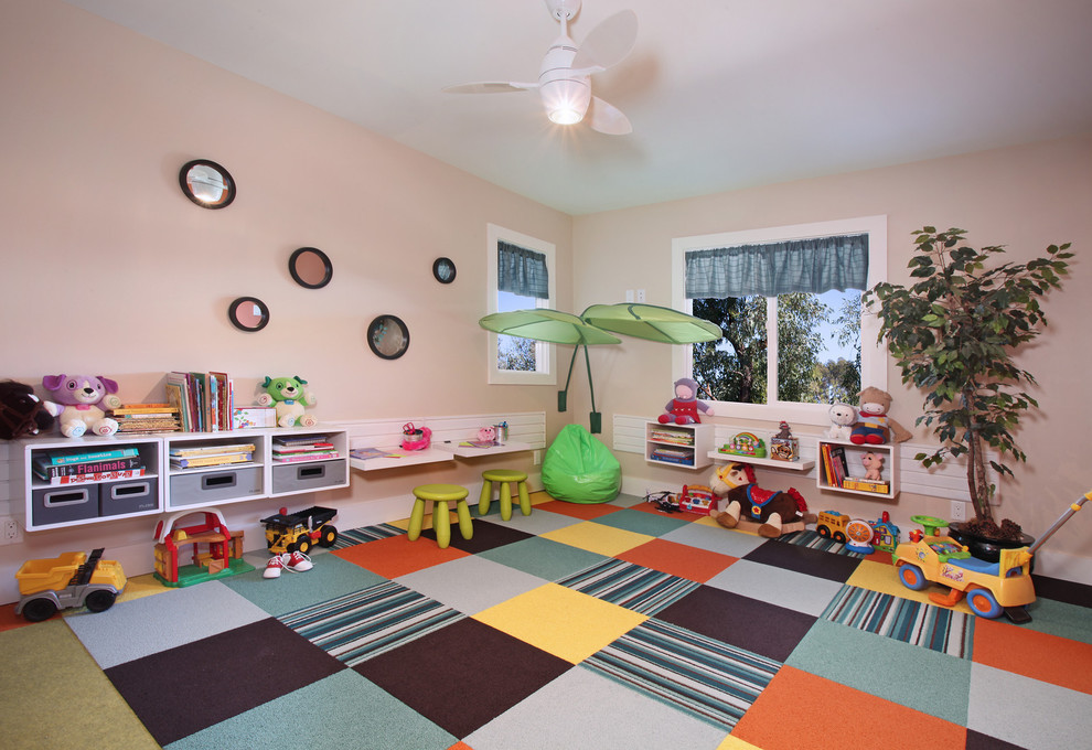 Carpet Squares Kids Contemporary with Ceiling Fan Craft Room Cubbies Kids Room Organization Organize Pink Walls Play