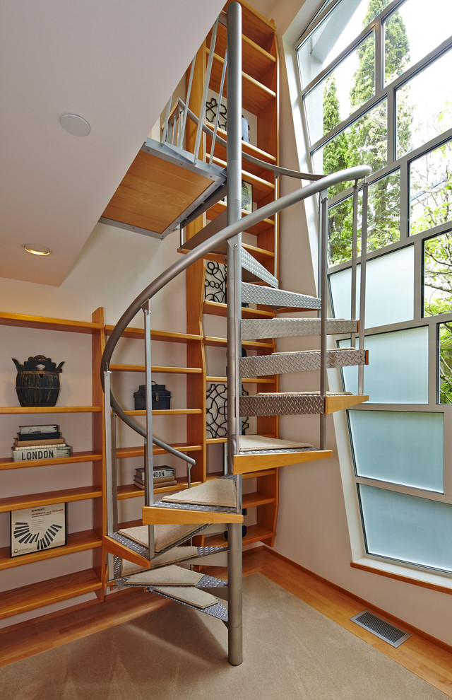 Carpet Stair Treads Staircase Contemporary with Book Shelves Bookshelves Built in Bookcase Carpet Stair Treads Glass Wall Large Window