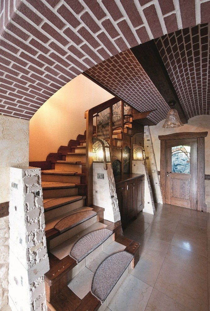 Carpet Stair Treads Staircase Eclectic with Arched Ceiling Archway Barrel Vault Beige Tile Floor Carpet Stair Treads Dark