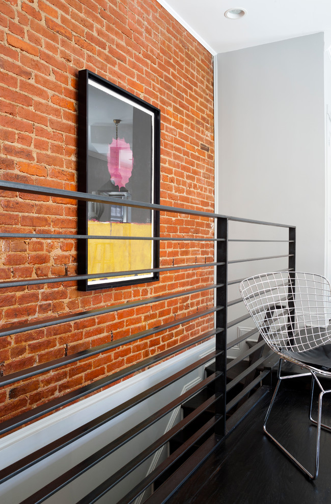 Carpet Stair Treads Staircase Transitional with Affordable Art Exposed Brick Interior Stairs Metal Handrail Modern Chair Modern Stair