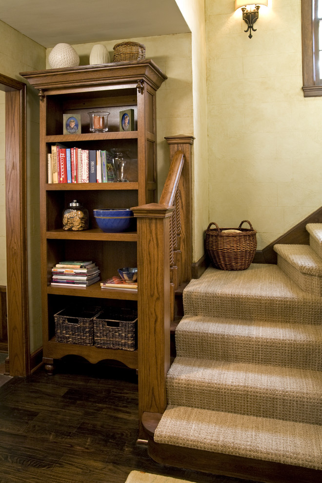Carpet Sweepers Staircase Traditional with Baseboards Bookcase Dark Floor Faux Finish Staircase Carpet Staircase Runner Wood Flooring