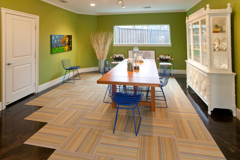 Carpet Tiles Cheap Dining Room Modern with Abstract Art Artwork Blue Wire Chairs Carpet Squares China Cabinet Cow Hide