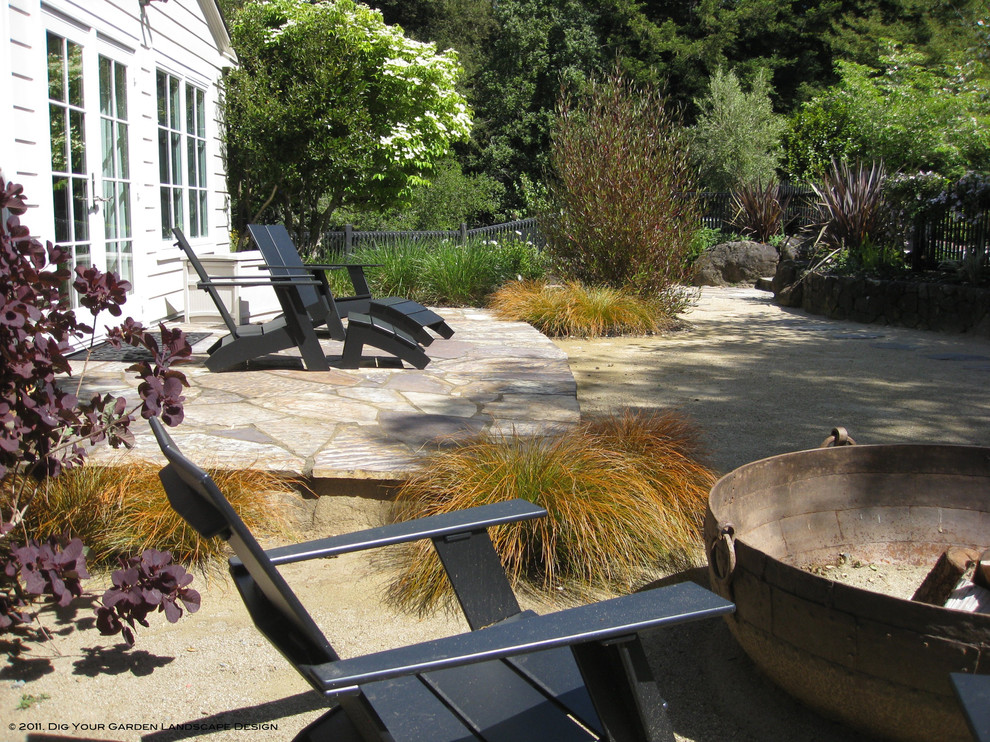 cast iron fire pit Patio Traditional with Adirondack chairs decomposed granite DG fire bowl grasses Landscape outdoor firepit patio