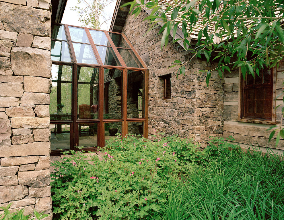 Cat Enclosure Exterior Rustic with Gable Roof Mixed Materials Raw Finishes Rough Hewn Wood Sunroom Weathered Wood