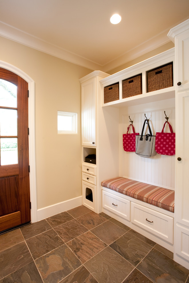Cat Enclosures Entry Traditional with Back Entry Baskets Bead Board Beadboard Bench Seat Built in Cabinets Coat Hooks