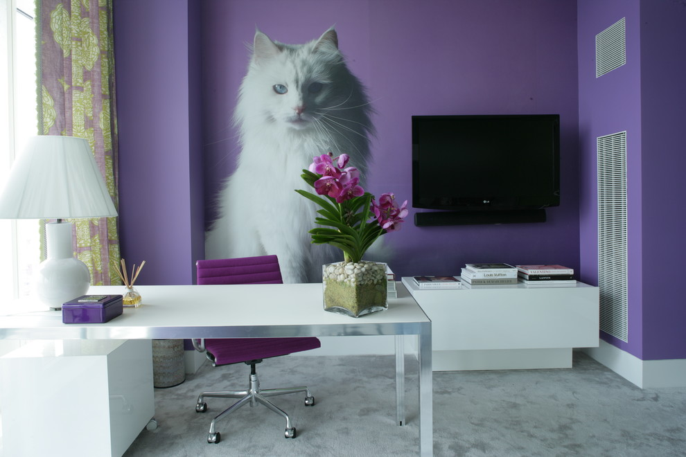 Cat Trees for Large Cats Home Office Contemporary with Carpet Cat Art Cat Decal Cat Wall Decal Oversized Cat Purple Accents