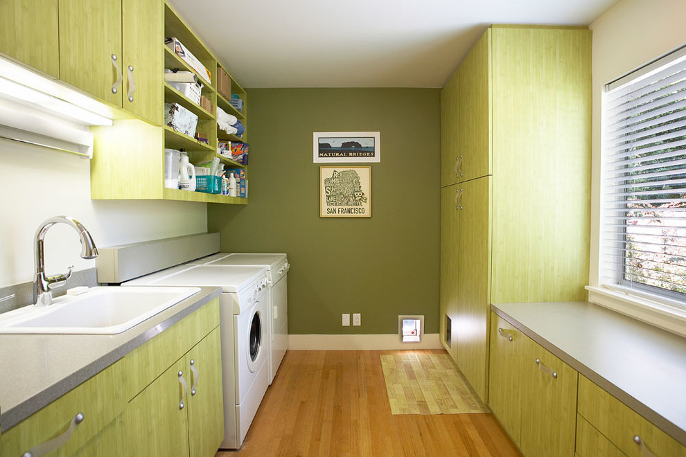 Cat Trees for Large Cats Laundry Room Contemporary with Beige Wall Dryer Green Cabinets Green Drawers Green Wall Open Shelves Open
