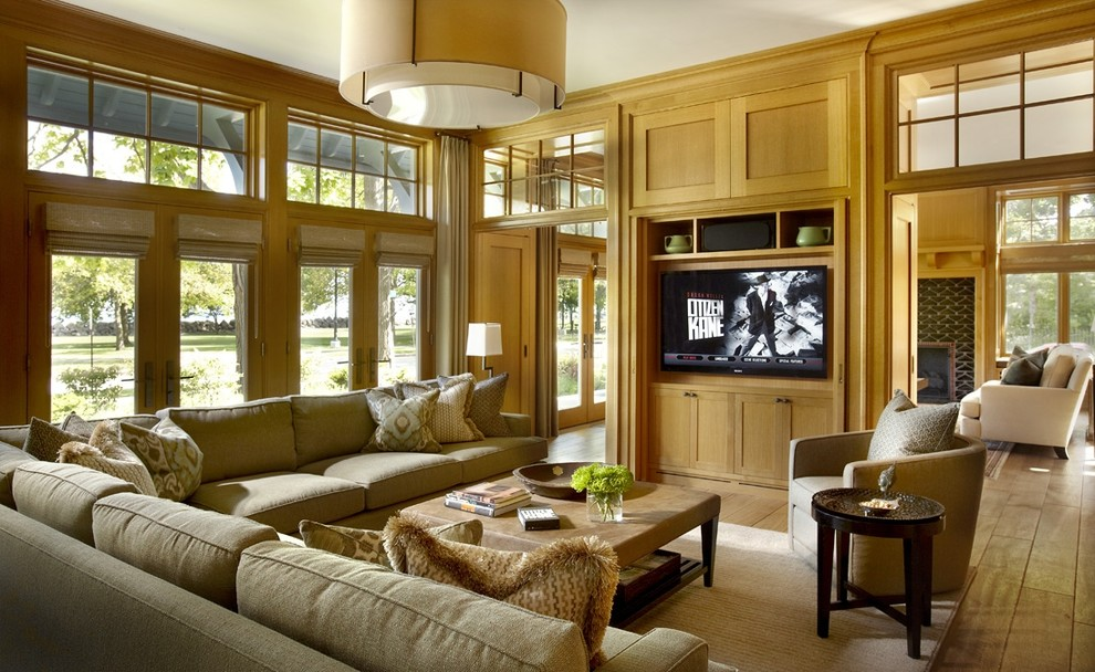 Catnapper Sectional Family Room Eclectic with Area Rug Corner Sofa Decorative Pillows Drum Pendant Entertainment Center French Doors