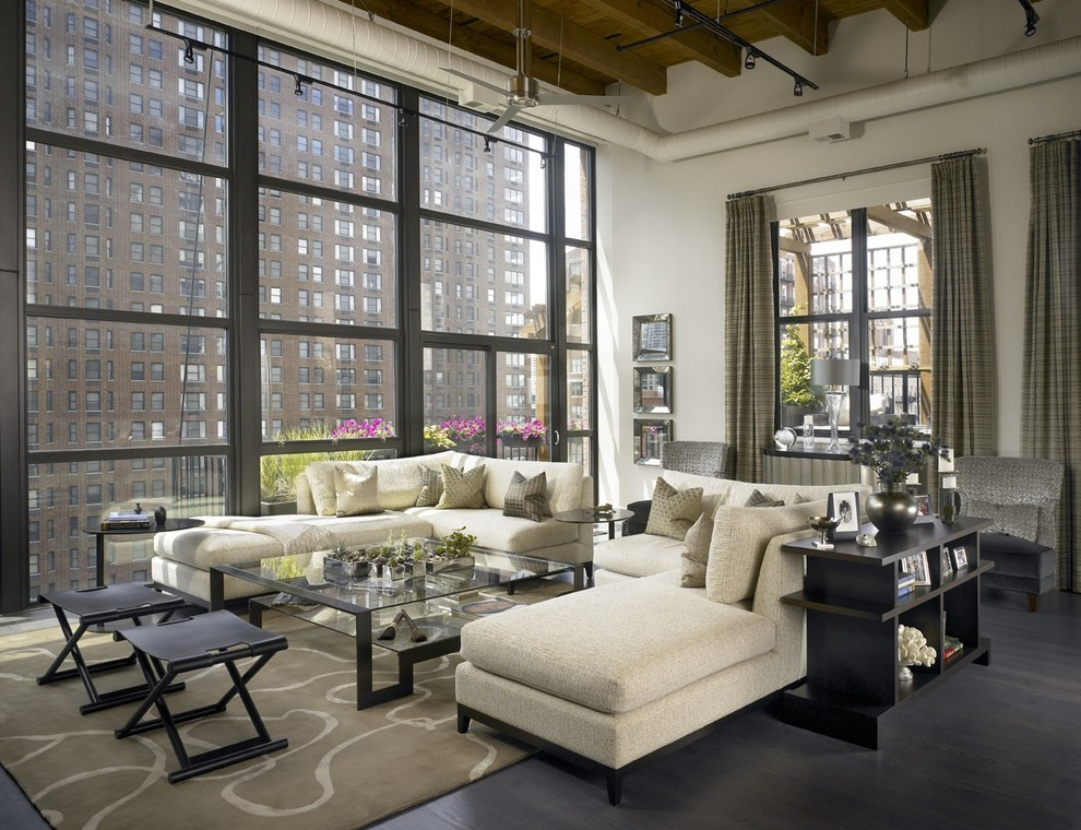 Catnapper Sectional Living Room Industrial with Casement Windows Corner Sofa Dark Floor Ductwork Folding Benches Glass Coffee Table