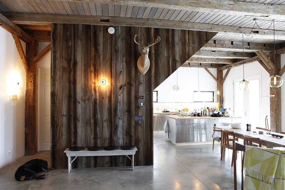 Catskill Craftsmen Entry Rustic with Barn Cabin Concrete Floors Deer Entry Entry Bench Exposed Beams Exposed Concrete