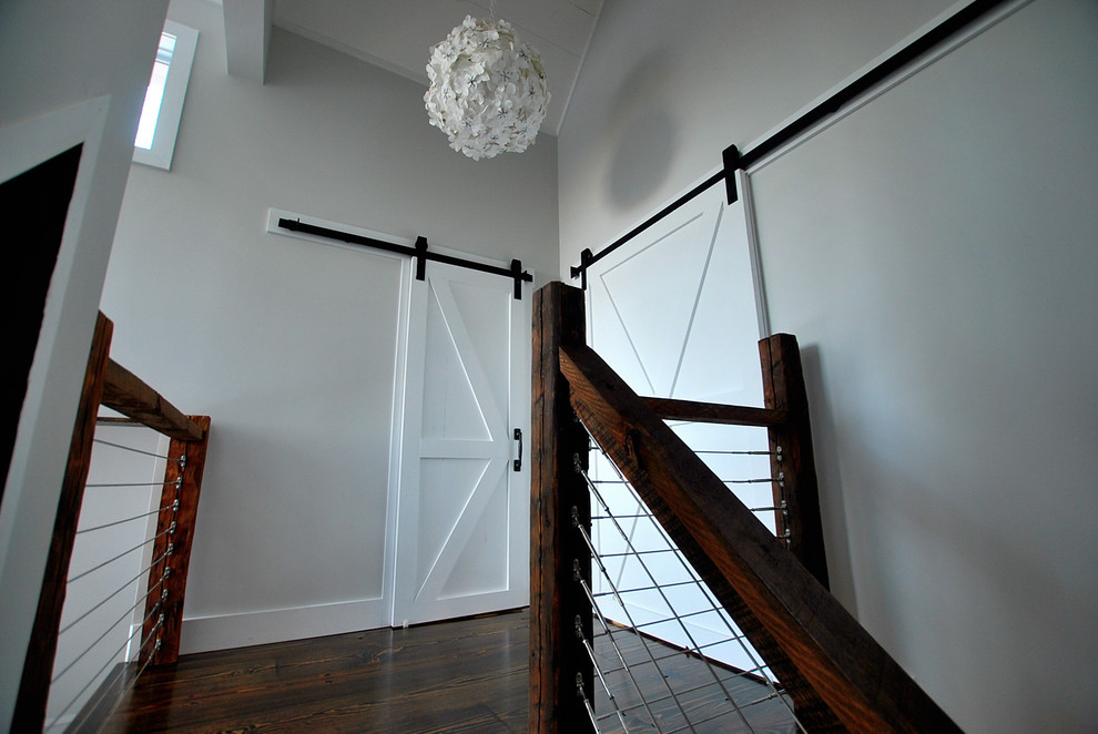 Catskill Craftsmen Staircase Rustic with Barn Door Cable Rail Catskill Catskill Farm Catskills Cottage Country Escape Getaway